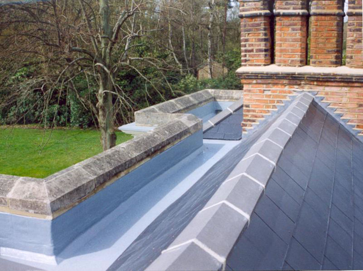 parepet wall to gutter fibreglass roof protection